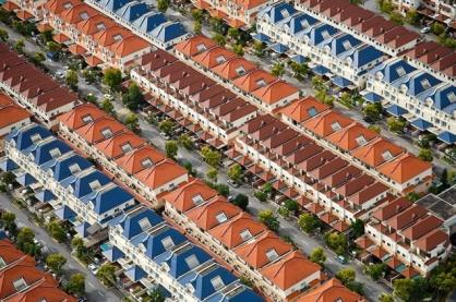 Lotissements dans un quartier résidentiel de Singapour, Singapour (1°32'N – 103°48'E).