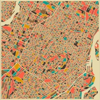 Montréal (Canada). https://urbabillard.wordpress.com/2014/01/25/les-abstractions-cartographiques-de-jazzberry-blue/