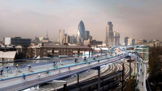"""Pont utopique pour vélos """"SkyCicle"""" imaginé par Norman Foster à Londres. http://bit.ly/LJpqzg"""