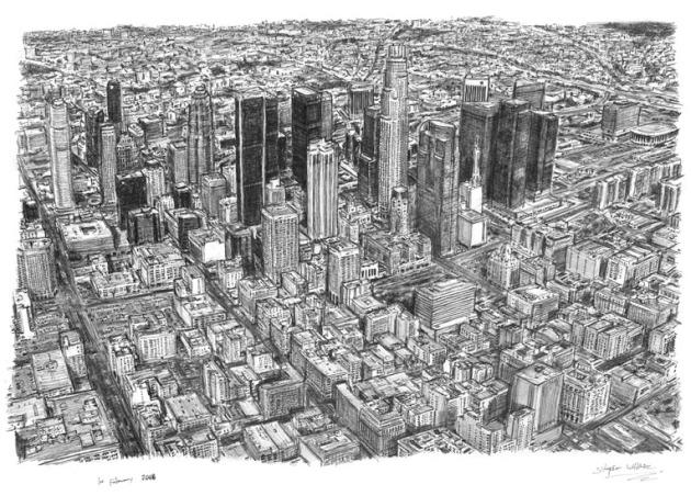 Aerial view of Los Angeles Skyline