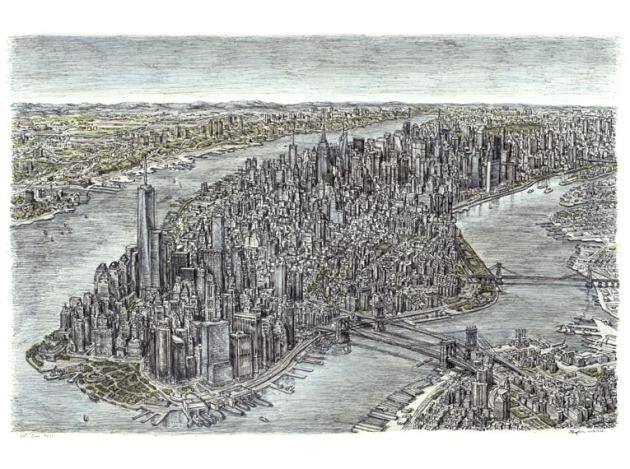 Aerial view of Manhattan Skyline 2011