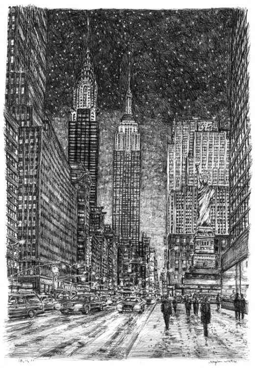 Imaginary drawing of New York in winter