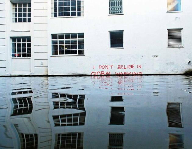 """I don't believe in Global Warming"" by Banksy."