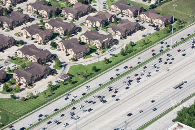 Massive highways and housing developments near Houston, TX