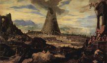 La tour de Babel peinte en 1587 par Lodewyk Toeput. Le dogme judéo-chrétien lui impute la confusion des langues.