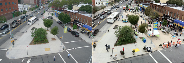 Cars don't shop people do. Better streets mean better business. Putnam Triangle, BK #tbt streets