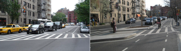 Progress doesn't stop when the paint dries. Bike networks should evolve, not just exist #tbt streets 8th Ave, Man