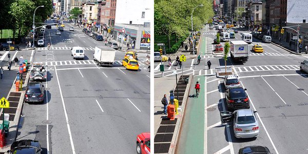 Same number of lanes before & after. Only the paradigm has shifted. 8th Ave Manhattan #tbt Streets